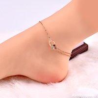 or rose double anneau en acier romain de titane diamant blanc numérique version coréenne Anklet femme sexy cheville chaîne bijoux étudiant pied
