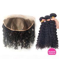 Jungfrau-brasilianische tiefer lockige Haar-Einschlagfaden mit Silk Basis Frontal 4Pcs Lot Curly Weaves mit Silk Top Spitze-Stirn Günstige 3Bundles Mit Stirnseite