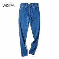 Jeans de femme Wixra Femme Crayon Pants Sticky Skinny Zippers High Taille Slim Bormon Slim Base Match Match Denim Pants1