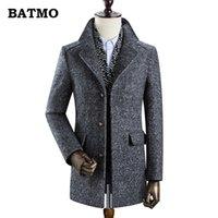 BATMO нового приход зима шерсть thicked тренчкот мужчин, мужская серая случайная шерсть 60% куртка, 828 201111