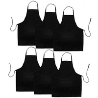 6 Pack Black Kitchen Apron with 2 Pockets Anti- Dirty Apron S...