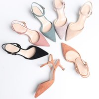 2020 New Women Pumps Flock Buckle Strap Thin Heels Pointed Toe Side space Single Shoes Female Sandals