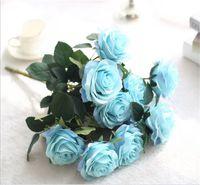 Simulazione Silk Rose Bouquet 10 teste Artificiale Rosa San Valentino Festival di San Valentino da sposa casa soggiorno decorazione fiori yys3896