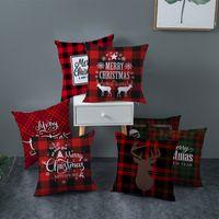 Рождественская подушка корпус мульти дизайн квадратный персиковый кожа бархатные клетчатые печатные подушки подушки подушки подушки Xmas стиль диван украшение нового 4JZ L2