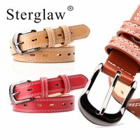 105*2. 4CM Female belts Black buckle White line feminine belt...