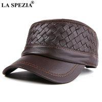 Largo chapéus chapéus la spezia chapéu de pele de carneiro homens malha de couro genuíno tampão do exército outono Beret de inverno de alta qualidade homens real