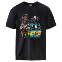 Park Horror-Film Man Sommer-T-Shirts Männer Baumwoll-T-Shirt Spitze Theme Park Clown Saw Halloween Sportswear Größe S-3XL