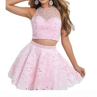 2018 Sexy Backless 2 pièces A-Line Homecoming Robes Sexy Cristal rose Perles de dentelle Perlée Mini Graduation Cocktail Robe Cocktail