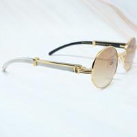 Beyaz Erkekler Klasik Güneş Gözlüğü Buffalo Horn Çerçeveleri Maskeleri Oval Lüks Gözlük Carter Yuvarlak Gözlük 7550178
