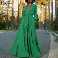Casual Kleider 2021 Zanzea Mode Hemd Kleid Frauen Sommer Sommerkleid Sexy Puff Sleeve Maxi Vestidos Weibliche Button Feste Robe Plus Größe 5XL