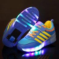 Risrich Kids LED роликовые ботинки светящиеся светящиеся зажженные кроссовки на колесах детские ролики кататься на коньках розовые туфли для мальчика девушек 201201