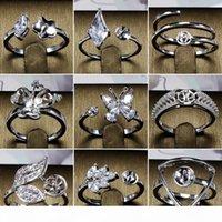 Сияние! Кольца Установка Циркон Сплошное S925 Серебряное кольцо Установка кольца Монтажное кольцо Пустые DIY Ювелирные Изделия 14 Стили Микс DIY Подарок