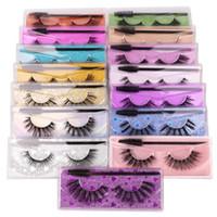 3D Mink Eyelashes Eye makeup Mink False lashes with Brush Set Soft Natural Thick Eyelashes Extension Beauty Tools Colorful pack GGA3802-1
