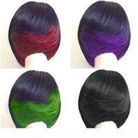 """Moda Kısa Bob Saç Kesimi Mix Renk Iki Ton Ombre Siyah Yeşil Kırmızı Mor 10 """"Kıvırcık Saç Peruk Isıya Dayanıklı Sentetik Peruk Doğal Hai"""