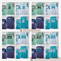 인쇄 된 새로운 도시 농구 2 Lamelo Ball Jerseys 녹색 화이트 퍼플 14 Nick Richards 22 Vernon Carey Jr. Gordon 20 Hayward 유니폼
