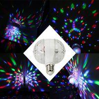 6 W E27 Dönen LED Strobe Ampul Renkli Kristal Salan Sihirli Çift Topları LED'ler Ampuller RGB Sahne Aydınlatma Parti Lambası Disko Noel Işıkları