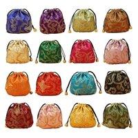 24pcs Silk Brocade Jóias bolsa bolsa, cordão Coin Purse, Saco do presente Valor Set