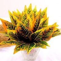 장식 꽃 화 환 35cm 인공 식물 실크 리프 플라스틱 녹색 잔디 나무 식물 가짜 웨딩 침실 데코에 대 한 가짜 단풍 부시