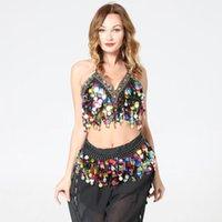 Palco wear blingstory 2 pcs / definir barriga dança fantasia conjunto diamante sexy cadeia cintura citistal jóias camis tops saia de bellydance