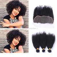 8a перуанские странные кудрявые волосы с кружевом лобового замыкания 3 связки с ухом к ухоручатым кружевам фронтальный афро странный скручиваемый с закрытиями