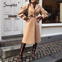 Simplee Mode Trend Kamel Womens Mantel Britische Stil Lange Lace Up Warme Wolljacke High Street Stil Winter Outdoor Coat 20201