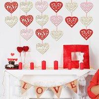 Adornos de amor de madera Decoraciones de la boda Valentines Day Regalos 10 unids / lote Suministros de boda Decoración de fiesta 8cm * 8cm * 0.3cm XD24396