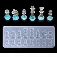 Forma de xadrez internacional molde de silicone diy argila uv epóxi resina molde pingente moldes para jóias