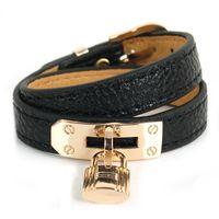Pulseira de couro pu elegante adequado para ladies bloqueio pingente pulseira jóias