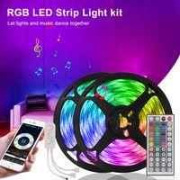 16.4 قدم 32.8FT 50FT 66FT LED شرائط 5M 10M 15M 20M RGB 5050 LED ضوء شرائط الضوء الذكي مع وحدة تحكم بلوتوث Wift