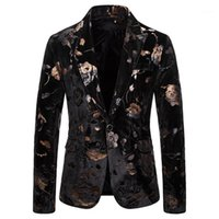 Mens Rose Print Black Velvet Blazer Jacket One Button Notche...
