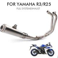 R3 النظام كاملة للحصول على YZF R25 الدراجات النارية ماسورة العادم الخمار akrapovic صلة الأنابيب الأوسط مع DB القاتل الفولاذ المقاوم للصدأ