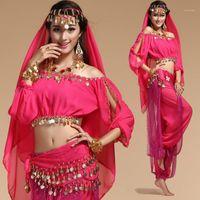 6 Цветов сценические характеристики Восточный животный танцующий Одежда Bellydance Костюм Сцена Танцевальная одежда для женщин Болливудская табачная одежда1