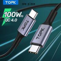 Topk PD 100W النوع C إلى USB الهاتف الخليوي الكابلات 5A شحن سريع 4.0 3.0 شحن سريع USB-C نوع كابل C لسامسونج Xiaomi macbook الموالية FY7432