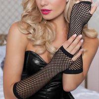 Cinco dedos luvas elegante longo preto fishnet womens meninas de dedos dançam gótico punk rock traje fancy1