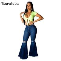 Цуретобе мода джинсовые пролетные брюки женские ретро разорванные джинсы широкие ноги брюки леди повседневные колокола боковых брюки женские 201225