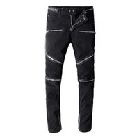 Hot Sale Fashion Designer Jeans Mens Ripped Biker Jeans Patc...
