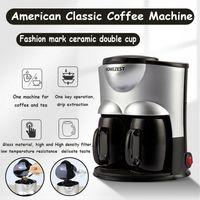 Elektrische Kaffeemaschine Americano Cafetera Espresso Automatische Mini-Kaffeemaschine mit Keramik-Doppelbecher