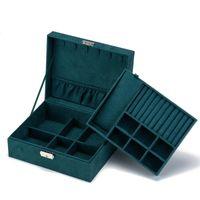 Scatola di gioielli Organizzatore 2 Layer Jewel Storage Case Collana Orecchini Anello Porta gioielli in pelle con vassoio rimovibile W1219