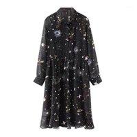 Belki de U Siyah Gezegen Baskı Evren Şifon Açmak Yaka Diz Boyu Elbise Uzun Kollu Bir Hat Sonbahar Elbise Zarif D06941