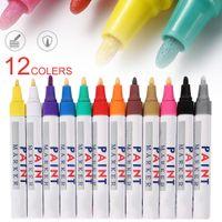 12 adet Su Geçirmez Renk İşaretleyiciler 12 Renkler Dayanıklı Araba Tekerlek Lastik Yağlı Mark Kauçuk Lastik Boya Kalem Metal Kalıcı Boya Işaretleyici Kalem 201120