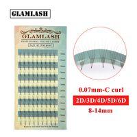 GLAMLASH 12 Lines False Eyelash Extension Silk mink Cilios Soft Individual Premade Fan Eye lash Extensions Russian Volume Lashes