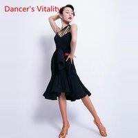 Danza latina nuovo vestito sexy vestito femminile vestito adulto senza maniche nappa senza maniche nappa performance danza vestiti professionale pratica vestiti1