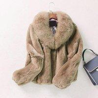 Women's Fur & Faux Winter Fashion Womne's Caot Thicker Warm Long Sleeve Jacket Collar Fake Outwear Plus Szize Coat L1681