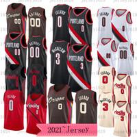 2021 homens Portland.TrilhaBlazers.Retro 00 Carmelo Anthony 0 Damian Lillard C.J. McCollum 3 Vintage 22 CLlyde Drexler Basketball Jerseys