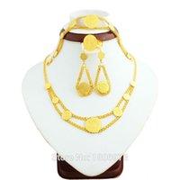 الجملة الذهب عملة مجوهرات الزفاف set18k الذهب قلادة اللون / القرط / الدائري / سوار المرأة الأفريقية نيجيريا مجوهرات كينيا الإثيوبية
