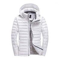 Men's Down Parkas Duck Jacket Hombres Europa y Estados Unidos Espesamiento con un diseño de invierno de diseño corto con capucha Blanco joven Cálido Q1261
