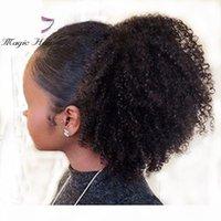 Evermagic Afro Kinky Кудрявые человеческие волосы Ponytail Удлинители 70-120 г для волос для волос для волос на волосах в хвост Малайзийские волосы