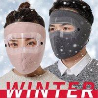 Neue Polar Fleece Wintermaske Doppelschichten Outdoor Reiten Warmer Schutz Klarer Augenschild Kalt Winddicht Masken Gesichtsabdeckung LJP743