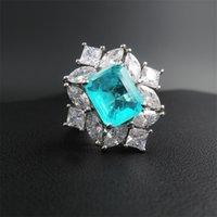 201.113 Toptan Wong Yağmur Vintage 925 Gümüş Paraiba Turmalin Gemstone Düğün Nişan elmas yüzüğü Hediye Güzel Takı