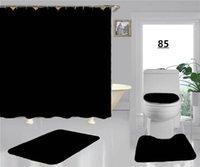간단한 복고풍 꽃 샤워 커튼 여름 럭셔리 스타일 변기 좌석 프린트 패션 4pcs 미끄럼 방지 욕조 덮개